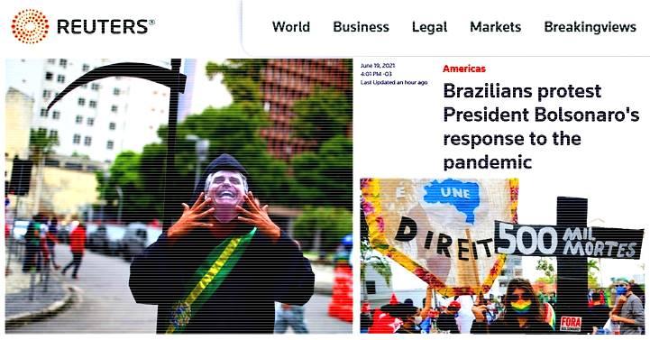 Maior agência de notícias internacional destaca protestos contra Bolsonaro no Brasil e no mundo
