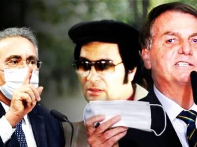 Renan Calheiros, Jim Jones e Jair Bolsonaro - sobreposição de imagens
