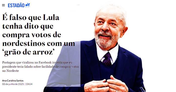 Estadão defende LULA de mentira de bolsonaristas